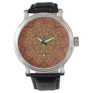 Orange dekoratives Spitze-Muster Armbanduhr