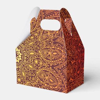 Orange dekoratives Spitze-Muster Geschenkschachtel