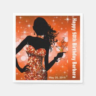 Orange des Bling Bomben-Schein-Geburtstags-Party | Papierserviette