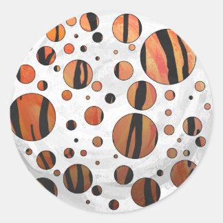 Orange des Polks Punkt-Tigers heißer und schwarzer Runder Aufkleber