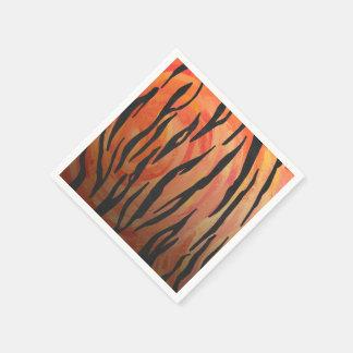 Orange des Tigers heißer und schwarzer Druck Papierservietten