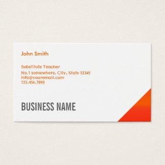 Orange EckVertretungslehrer-Visitenkarte Visitenkarte