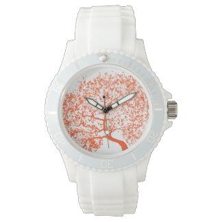 Orange Eichen-Uhr Uhr