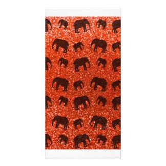 Orange Elefant-Glitterneonmuster Fotokartenvorlage