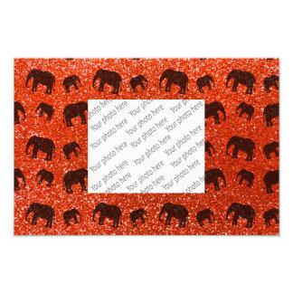 Orange Elefant-Glitterneonmuster Photographischer Druck