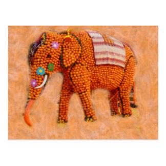 Orange Elefant Postkarte