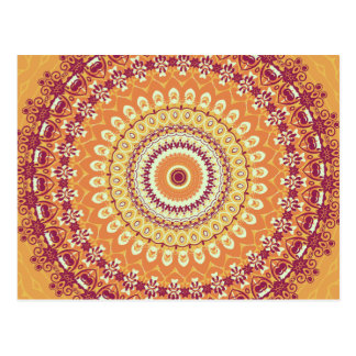 Orange Eleganz-Mandala-Kaleidoskop Postkarte