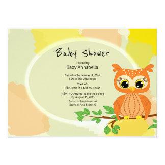 Orange Eulen-Babyparty 14 X 19,5 Cm Einladungskarte