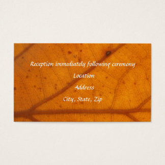 Orange Fall-Blatt-Empfangs-Karten Visitenkarte
