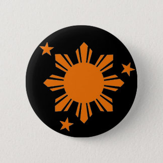 Orange Filipino Sun/Stern-Knopf Runder Button 5,1 Cm