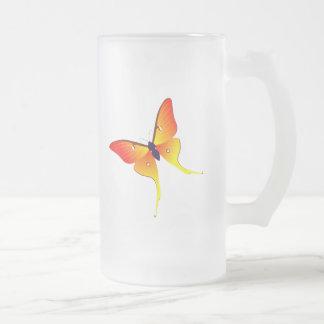 Orange Flammen-Schmetterlings-große mattierte Mattglas Bierglas