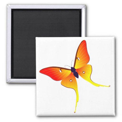 Orange Flammen-Schmetterlings-Quadrat-Magnet Kühlschrankmagnet