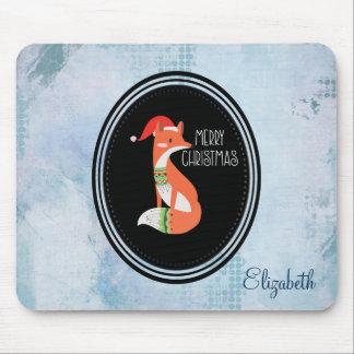 Orange Fox in den rote Weihnachtsmannmütze-frohen Mousepad