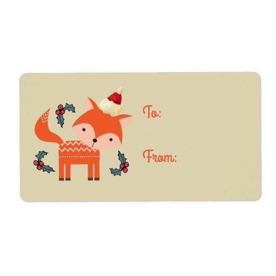 Orange Fox Weihnachtsmannmütze-im niedlichen Retro Versandetikett