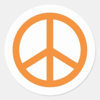 Orange Friedenszeichen Runder Aufkleber