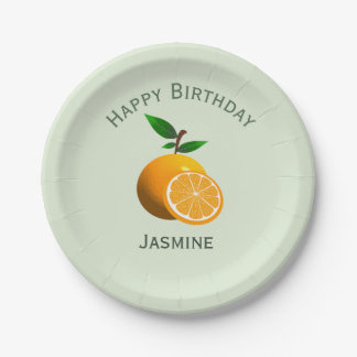 Orange Frucht, alles Gute zum Geburtstag Pappteller
