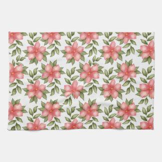 Orange Frühling Watercolor-Blumen und -reben Küchentuch