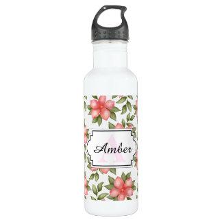 Orange Frühling Watercolor-Blumen und -reben Trinkflasche