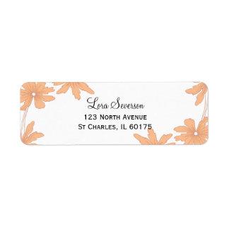 Orange Gänseblümchen auf Weiß Rückversand-Adressaufkleber