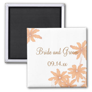 Orange Gänseblümchen auf weißer Hochzeit Quadratischer Magnet
