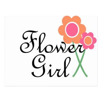 Orange Gänseblümchen-Blumen-Mädchen Postkarte