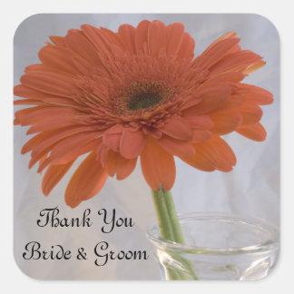 Orange Gänseblümchen-Hochzeit danken Ihnen, Quadratischer Aufkleber