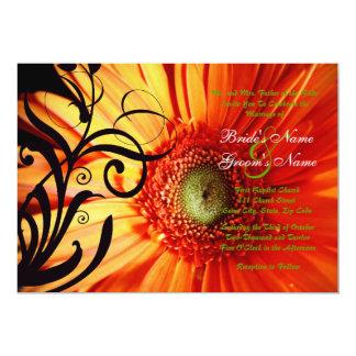 Orange Gänseblümchen-Hochzeits-Einladung