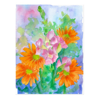 Orange Gänseblümchen-Rosa Snapdragon Postkarte