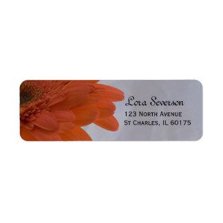 Orange Gänseblümchen-Rücksendeadresse Kleiner Adressaufkleber