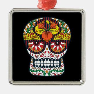 Orange Gelb-Blumen-mexikanischer Zuckerschädel Silbernes Ornament