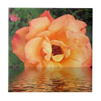 Orange Gelb-Rosen-Blume Kleine Quadratische Fliese