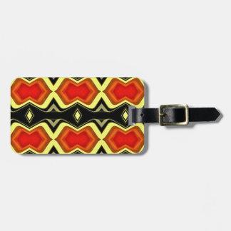 Orange Gelb-Schwarz-Fall-Stammes- Muster Gepäckanhänger