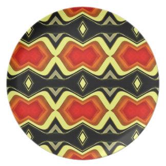 Orange Gelb-Schwarz-Fall-Stammes- Muster Teller