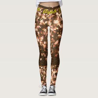 Orange Gelb-und Schwarz-Pixel-Mosaik-Muster Leggings