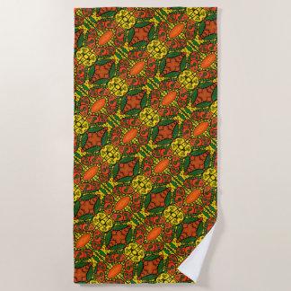 Orange Gelbgrün-Schmetterlings-Muster Strandtuch