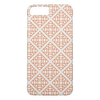 Orange geometrische retro Vintage Muster iPhone 8 Plus/7 Plus Hülle