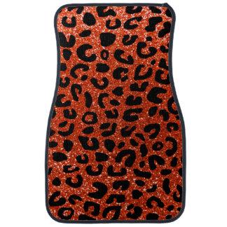 Orange Geparddruckneonmuster Autofußmatte