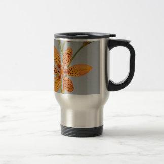 Orange gepunktete Iris genannt eine Reisebecher