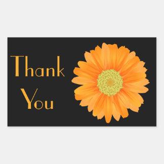 Orange Gerbera-Gänseblümchen-Blumen-Mit Rechteckiger Aufkleber