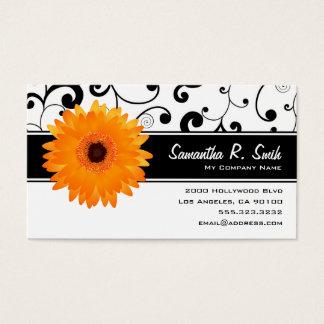 Orange Gerbera-Gänseblümchen-schwarze u. weiße Visitenkarte