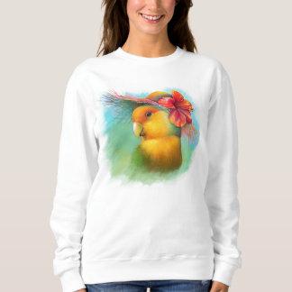 Orange-gesichtiger Lovebird mit Hibiskushutmalerei Sweatshirt