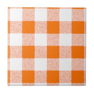 Orange Gingham-Karo-Muster Keramikfliese