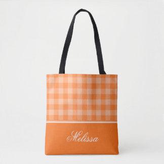 Orange Gingham | personalisiert Tasche