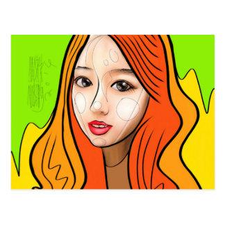 Orange girl portrait postkarte