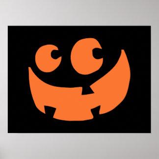 Orange glücklicher Halloween-Kürbis Poster