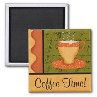 Orange Goldgrün-Kaffeetasse-Kunst-individueller Quadratischer Magnet
