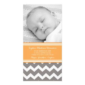 Orange Grau danken Ihnen Baby-Duschen-Foto-Karten Photo Karten Vorlage