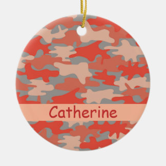 Orange grauer Camouflage-Tarnungs-Name Keramik Ornament