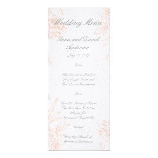 Orange graues Vintages Hochzeits-mit Blumenmenü 10,2 X 23,5 Cm Einladungskarte