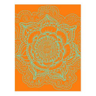 Orange grüne Mandala Postkarte